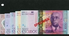 Cabo Verde - Complete set of the new Specimen banknote series 2014 - including the Scarce 200$00 Polymer;