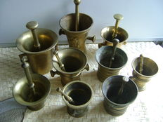 Lot of 9 different brass and bronze mortars with pistil - 19th century through 1st half 20th century