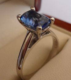 2.10 ct Intense Blue Sapphire in new ring of 14K solid white gold.