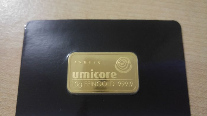 Gold bar with 10 g - Umicore Germany - With certificate