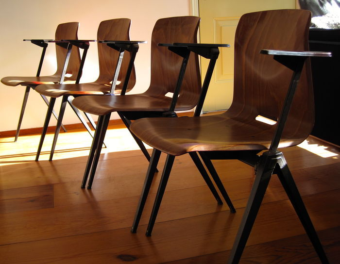 pagholz lot of eight 8 industrial dining room chairs