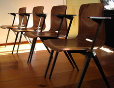 Pagholz - lot of eight (8) industrial dining room chairs