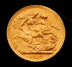 United Kingdom. Gold George V sovereign, year 1912.