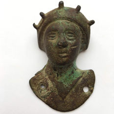 Roman Bronze Applique Bust Of Sol Invictus - 60 mm