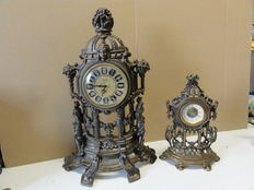 Two, small, German table clocks -  1960 period, signed with AGDA.