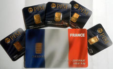 6 pcs. gold bars Nadir PIM fine gold 999.9/1000 sealed 24 Karat Goldbarren Bullion Gold LBMA certified;  1 peace 0.5g  Giftcard banner FRANCE,  5 pcs. Goldbars each 0.10g