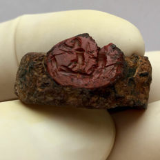 Roman Iron ring with a rare Biblical scene / fishermen on Red Jasper Gemstone - 24/14 mm