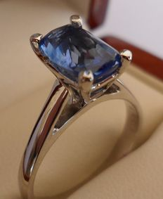 2.10 ct Natural Intense Blue Sapphire with Transparent Clarity in New Ring of 14K Solid White Gold  -  Ring size 17.5/55/7.5