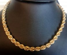 Very thick and heavy rope in 18kt yellow gold.
