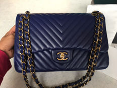 Chanel – Blue Chevron Jumbo Classic Double Flap Bag