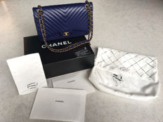 Chanel Blue Chevron Jumbo Classic Double Flap Bag