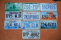 License plates USA - 10 items (incl. Vermont) (RARE!)