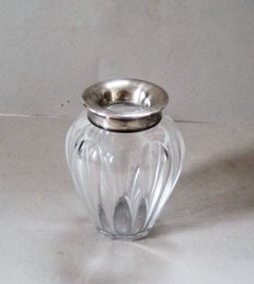 Crystal glass vase with 835 silver mount