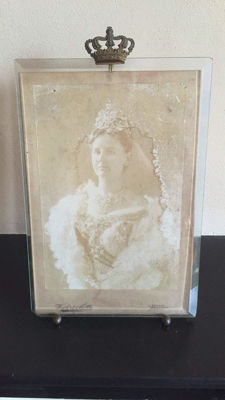 A large photo frame with brass crown, France, circa 1900