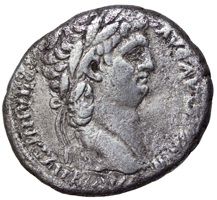 Roman Empire - Syria, Decapolis. Nero, with Divus Claudius. AD 54-68. AR Tetradrachm 26mm, 14.12gr