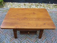 Ash wood Austrian coffee table with drawer and lower tray, early 1800