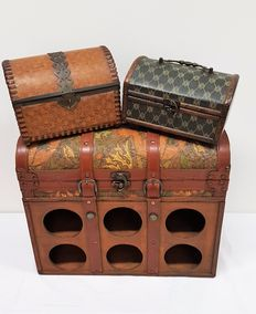 Large wooden wine box with leather fittings and two wooden boxes