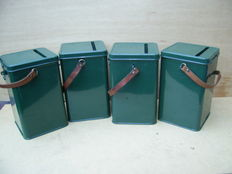 Lot with 4 green donation boxes with leather carrying strap