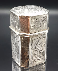 Silver scent box with engravings, Johannes Beeling, Leeuwarden, 1865