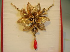 Orchid blossom necklace with coral