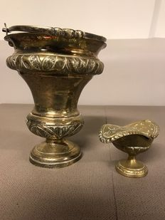 Bronze incense boat & brass holy water bucket-France-19th century