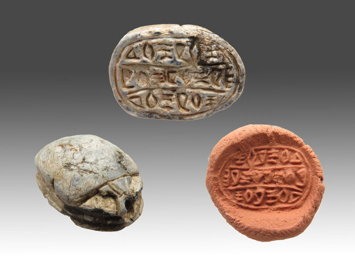 Egyptian steatite scarab with hieroglyphs - 16 mm