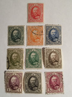 Luxembourd 1891/1893 - Series of 10 stamps featuring Grand Duke Adolphe.