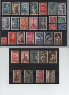 France 1938/1939 - Selection of 77 stamps inculding complete 1939 Year - Yvert no. 360 to 418 and 419/450