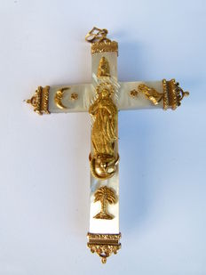 France 19th century mother of pearl two sided cross with 18kt gold decorations.