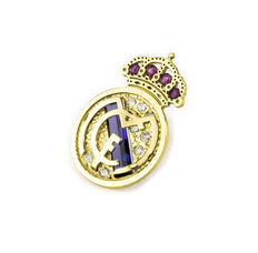Real Madrid emblem in yellow gold.