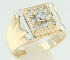 Bi-colour 14 kt gold ring set with brilliant cut diamonds