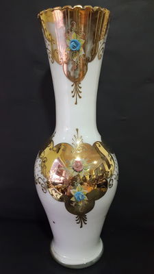 Opaline Glass Jar with Golden Decoration from 1970