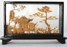 Very sophisticated cork carving in wooden display case with glass panels - China - second half of the 20th century
