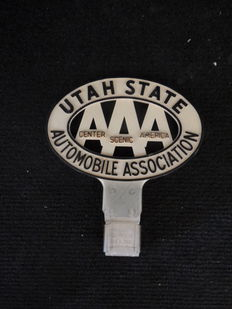 Plate AAA - Automobile Association Utah State - Metal and plastic - ca 1960 - 11.5 cm x 7.5 cm