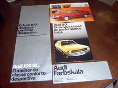 5x catalogs/brochures Audi 80, Audi 100, Audi 100 GL, Audi Coupé GT and Color program, 70s