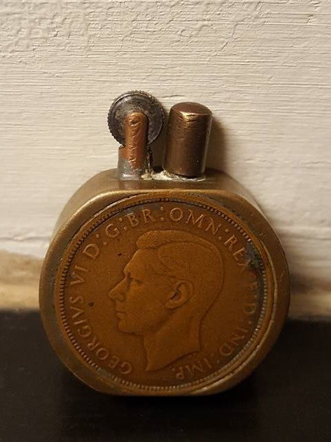 World War II British Trench Art Cigarette Lighter, King George VI