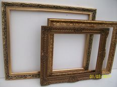 Three English/Dutch Picture mouldings - hand-gilt, 1st half 20th century