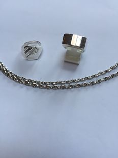 Sold silver men's necklace with 2 heavy silver men's rings