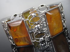 """Louis Vausch Berlin"" antique bracelet with amber from Germany"