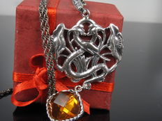 """Snake"" silver pendant on necklace with amber, handmade - Germany"