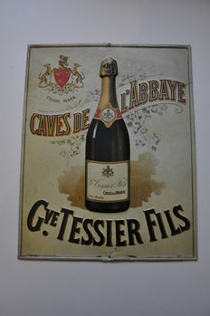Old advertising sign - TESSIER FILS CAVES CHAMPAGNE method - 1920s