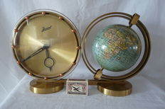 Old globe with table clock