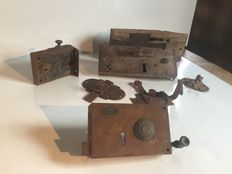 Lot of seven old locks and latches - wood and wrought iron - France - late XVIIIth to early XXth century