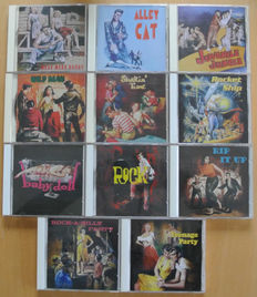 Collection of 11 rare Rock & Roll and Rockabilly sampler CD's on the Buffalo Bop label