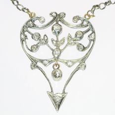 Victorian diamond gold backed silver pendant with chain - anno 1900