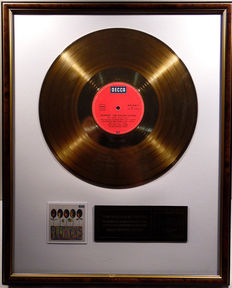 """The Rolling Stones - Flowers  -  12"""" german Decca record gold plated record by WWA Awards"""
