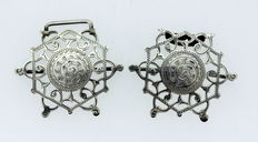 Pair of sterling silver nurse buckles, made in Birmingham 1912, Made by Adie & Lovekin Ltd