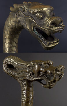 Two dragon heads in old copper - China - second half of the 20th century