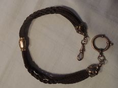 Biedermeier - real hair - pocket watch chain