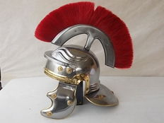 "Gorgeous Roman helmet with Crest and movable ears,  used in the movie ""Gladiator"" made with steel head produced in Italy"